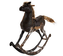 Woodland Couture Faux Leather & Fur Rocking Horse - H206432