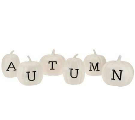 """As Is"" ED On Air Ceramic Harvest Phrase Pumpkins by Ellen DeGeneres"