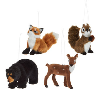 Set of 4 Miniature Woodland Animal Ornaments - H209632