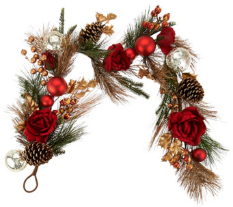 4' Velvet Rose, Berry, and Pinecone Garland - H209932