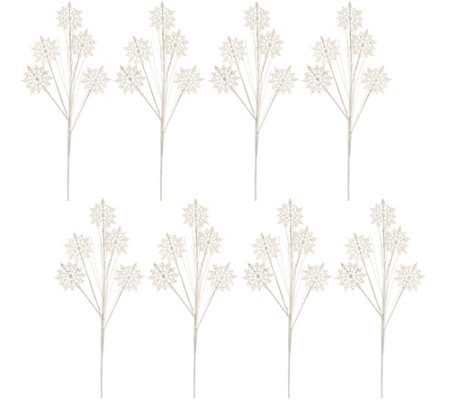 Set of 8 Decorative Glittered Snowflake Picks by Valerie