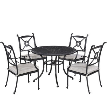 "Athens 42"" Patio Table w/ Four Arm Chairs - H289632"