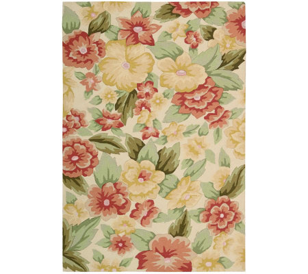 "Nourison Botanical 5' x 7'6"" Edith Blooms Handhooked Rug"