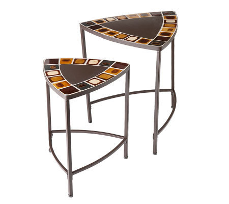Indoor/Outdoor 2pc Mosaic Nesting Table Set