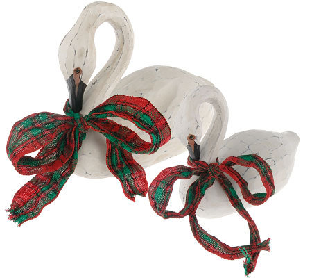 Set of 2 Handcarved Wooden Swans with Ribbon by Valerie