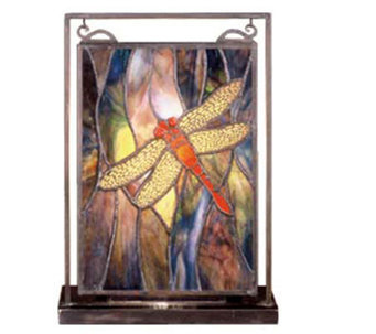 Tiffany Style Dragonfly Mini Window Panel and Display - H123533