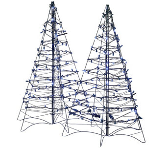 """As Is"" S/2 Pre-Lit LED 3' Fold Flat Outdoor Christmas Trees - H208333"