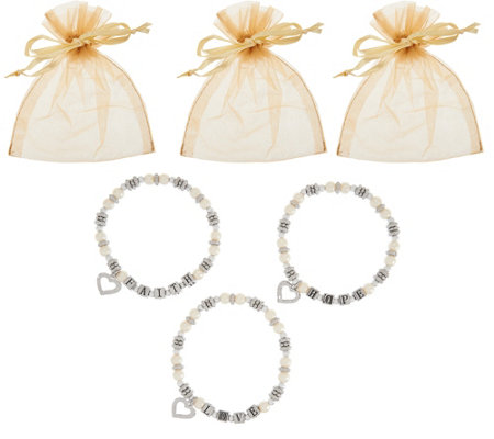 Set of 3 Faith, Hope and Love Bracelets in Gift Bags by Valerie
