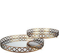 "Set of 2 Quatrefoil Mirrored Tray Set (1) 14"" and (1) 16"" - H210933"