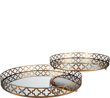 "Quatrefoil 14"" and 16"" Mirrored Tray Set"