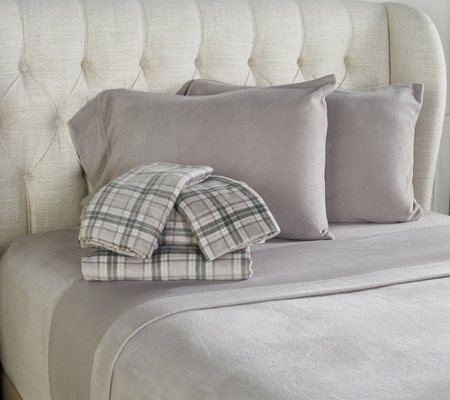 Malden Mills Set of Two Polarfleece Print and Solid Queen Sheet Set