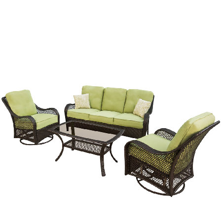 Hanover Orleans 4-Pc. All-Weather Wicker Outdoor Lounging Set