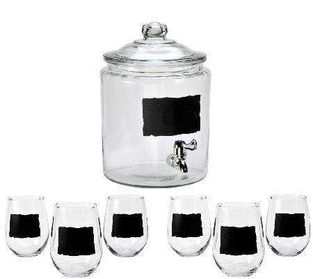 Anchor Hocking Chalkboard Beverage Dispenser &Glasses