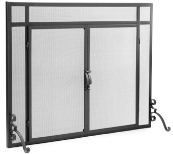Plow & Hearth Large Classic Flat Guard Fire Screen with Doors - H287433