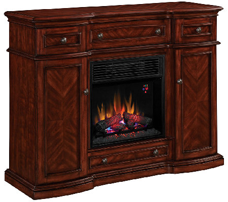 Twin Star Vintage Cherry TV/Media Mantel Fireplace with Remot