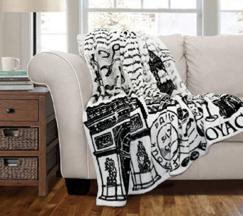 Paris France Flannel Throw by Lush Decor - H287833