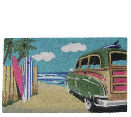 Northlight Multicolor Car on Beach Door Mat