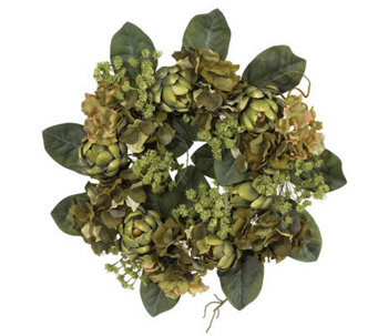 "18"" Artichoke Wreath by Nearly Natural - H179234"