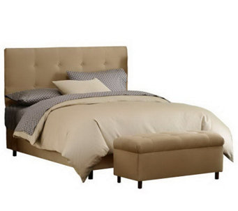Skyline Furniture Ultrasuede King Headboard & Storage Bench - H187234