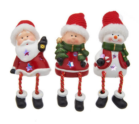 Kringle Express Set of 3 Battery Op. Ceramic Holiday Friends