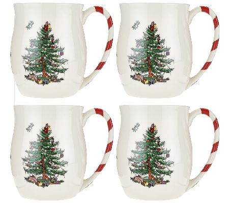 Spode Christmas Tree S/4 14 oz. Candy Cane Mugs - Page 1 — QVC.com
