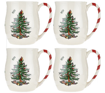 Spode Christmas Tree S/4 14 oz. Candy Cane Mugs - H205434
