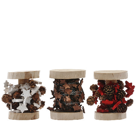 ED On Air S/3 Mini Wood Star Spool Garlands by Ellen DeGeneres