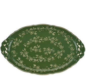 """As Is"" Temp-tations 18"" Floral Lace Holiday Platter w/ Handles - H208534"
