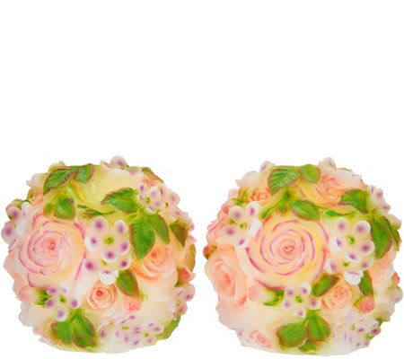 Set of 2 Illuminated Rose Wax Spheres by Valerie