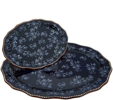 """As Is"" Temp-tations Floral Lace Set of 2 Serving Platters"