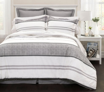 Hena 6-Piece Gray Stripe Queen Comforter Set byLush Decor - H290634