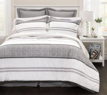 Hena 6-Piece Gray Stripe Queen Comforter Set byLush Decor