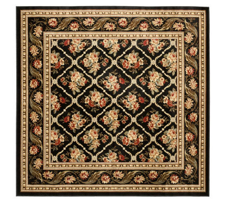 "Lyndhurst Floral Lattice Power Loomed 6'7"" x 6'7"" Square Rug"