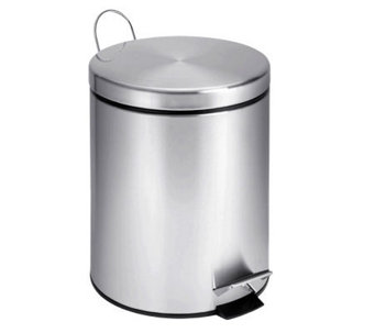 Honey-Can-Do Stainless Steel Round Five-Liter Step Trash Can - H357034