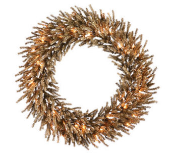 "30"" Chocolate Wreath with Clear Lights by Vickerman - H362134"