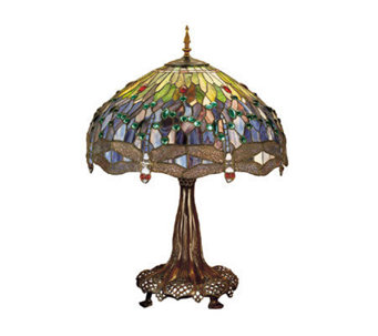 "Tiffany Style 31"" Hanging Dragonfly Table Lamp - H122435"