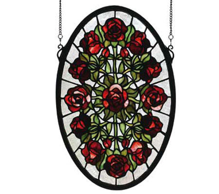 Tiffany Style Rose Bouquet Window Panel