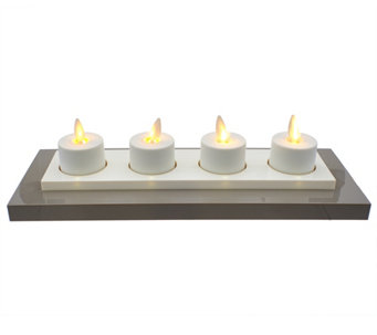 Luminara Set of 4 Rechargeable Tealights with Base - H208935