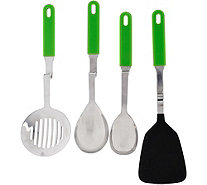 """As Is"" Set of 4 Silicone No Mess Cooking Utensils by Lori Greiner - H209535"