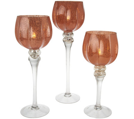 Set of 3 Frosted Glass Goblets with Tealights by Valerie
