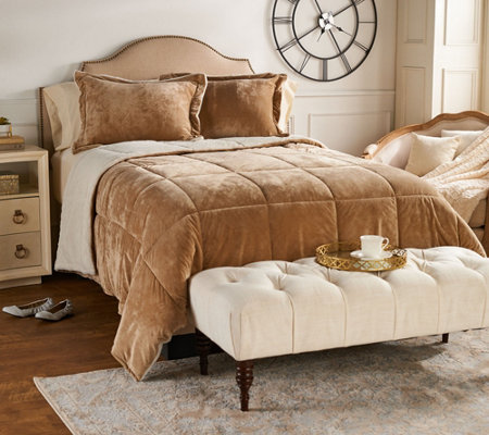 London Fog Baby Velvet Reverse to Ivory Fur King Comforter Set