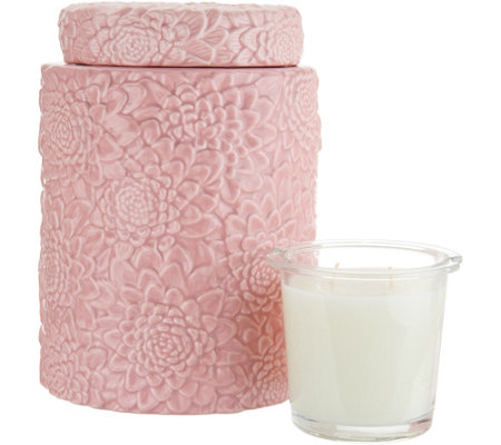 HomeWorx by Harry Slatkin Floral Canister with 12-oz Drop-in Candle