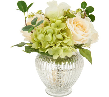 """As Is"" 10"" Floral Arrangement w/ Illuminated Base by Valerie"