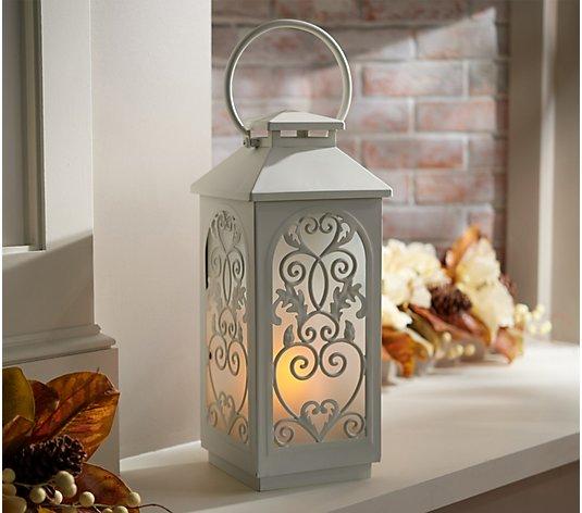 17 Metal Indoor Outdoor Flickering Flame Lantern By Valerie Qvc Com