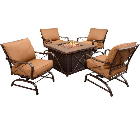 Hanover Summer Night 5 Pc. Deep Cushioned PatioSet & Fire Pit