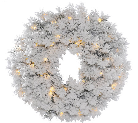 "36"" Flocked Alaskan Wreath  by Vickerman"