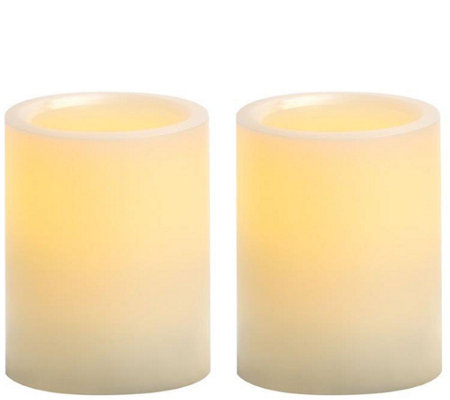 "Candle Impressions S/2 4"" Flameless Pillar Candles"