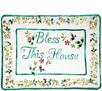 Pfaltzgraff Winterberry Bless This House GlassPlatter - H287135