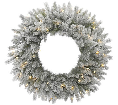"24"" Frosted Sable Pine Wreath with  Clear Lights by Vickerman"