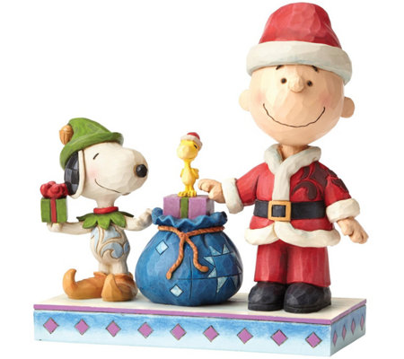 Jim Shore Santa Charlie Brown & Snoopy